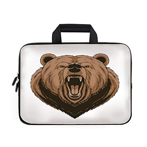 Bear Laptop Carrying Bag Sleeve,Neoprene Sleeve Case/Angry Scary Face Mascot Head Powerful Vicious Beast Cartoon Mascot with Fangs/for Apple MacBook Air Samsung Google Acer HP DELL Lenovo -