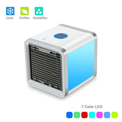 WONSAMAM Personal Space Mini Air Conditioner, 3 in 1 USB Mini Portable Air Conditioner, Purifier and Humidifier. Desktop Evaporative Air Cool for Office Outdoor Home Travel by WONSAMAM