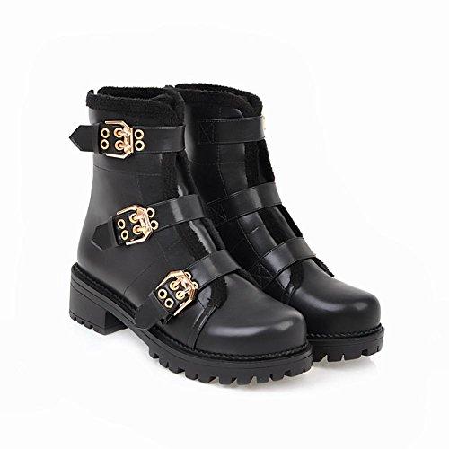 Carolbar Mujeres Buckle Zip Cold-weather Low Heel Botas Cortas De Invierno Negro