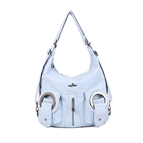 Blue Backpack Handbag (Angelkiss 2 Separated Rooms Multiple Pockets Purses and Handbags Washed Leather Shoulder Bags Backpack W6802 (Sky Blue))