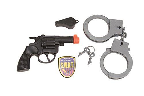 25390 Police Set Gun Whistle Handcuffs Badge