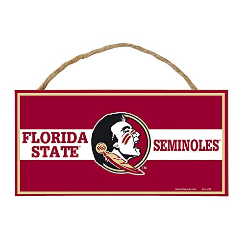 Bek Brands College and University Mascot Wood Sign with Rope Handle, 5 x 10 in (Florida State Seminoles) (University State Florida Wood)