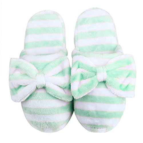5 9 slip Bowknot Pink 8 Soft 5 Warm Anti Tenworld Plush Slippers Spa Green House Women 7EwxgRqO