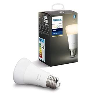 Philips Hue White LED Glödlampa Dimmbar med Bluetooth, Alexa och Google Assistant E27 Edisonskruv Vit 1 Styck