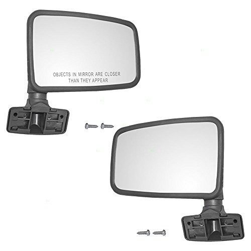Pair Set Manual Side Mirrors Hard Door Mounted Textured Replacement for Jeep SUV Pickup Truck 55027207 55027208 (Door Mirror Mounted Drivers Manual)