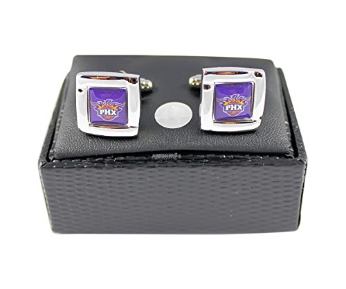 Phoenix Suns NBA Sports Fan Team Logo Square Engraved Design Mens Shirt Cufflinks Gift Box Set by aminco