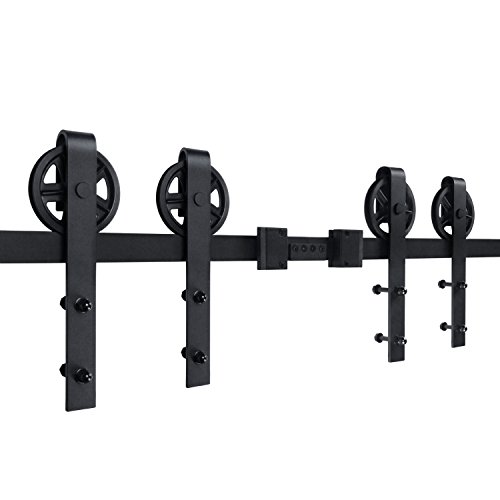 SMARTSTANDARD 13ft Bigwheel Double door Sliding Barn Door Hardware (Black) (Big Industrial Wheel Hangers) (2 x6.66 foot Rail)