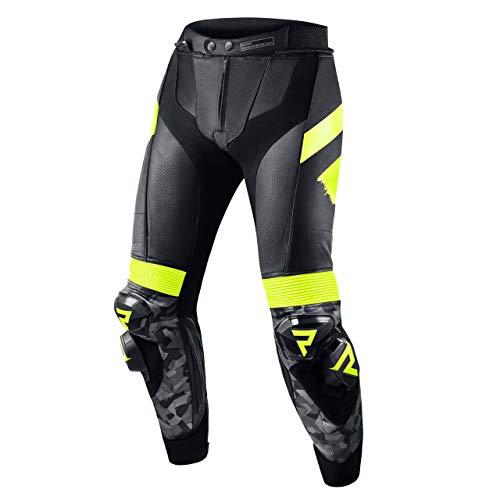 REBELHORN Rebel Leder Motorradhose Knie und Hüftprotektoren Kevlar Verstärkungen Belüftung Knieschieber Reflektierende…