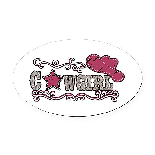 (Oval Car Magnet Cowgirl Country Western Hat and Star)