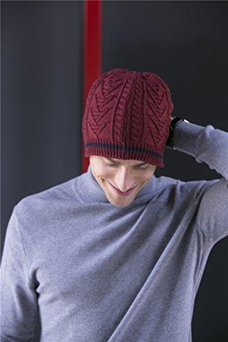 cálido para estilo Hat Beanie diaria los terciopelo Cap hombres vino Skull clásico BaronHong rojo EZqzz