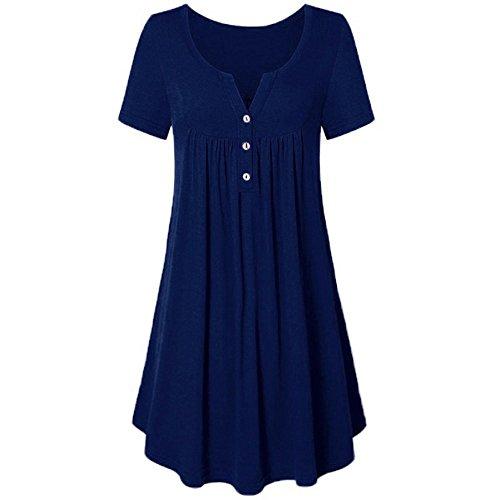 Mini Boemia Donna V Donna Estivo Vestiti della Blu Estate Collo Casual Vestito Vestiti Mecohe Solida della Sciolto Tunica Maglietta AHnT8w