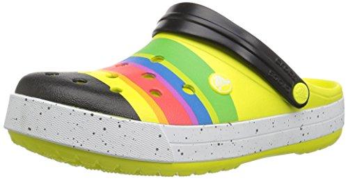 Crocs Crocband Color-Burst Clog, Tennis Ball Green/Black, 9 US Men/11 US Women M US