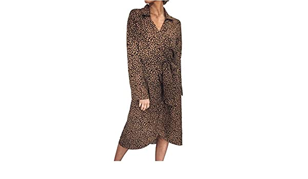 23c34423cf15 BYWX Women Lace Up Casual V-Neck Chiffon Long Sleeve Leopard Print Midi  Dress at Amazon Women's Clothing store: