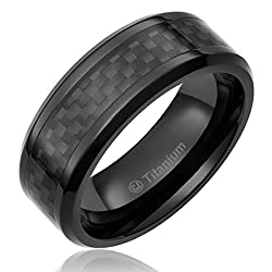 8MM Men's Titanium Ring Wedding Band Black Plated, Black Carbon Fiber Inlay and Beveled Edges