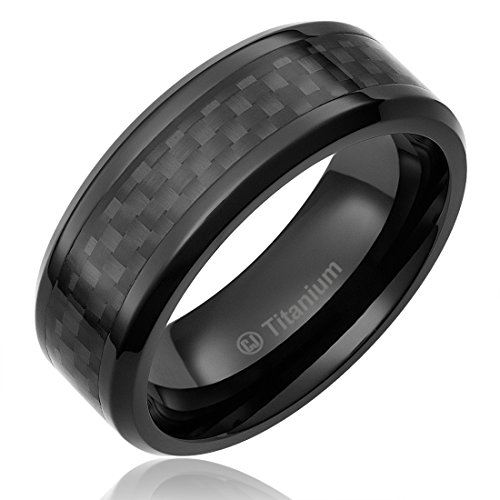 8MM Mens Titanium Ring Wedding Band Black Plated with Black Carbon Fiber Inlay [Size 13] ()
