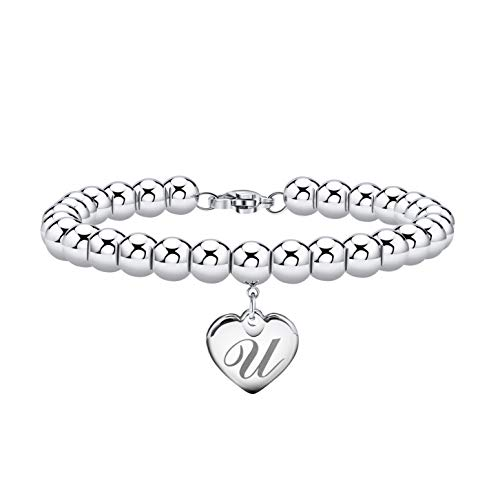 Estendly Initial Heart Charm Bracelets 6mm Stainless Steel Beads 26 Letters Bracelet for Women Birthday Gifts