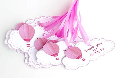 Pink Hot Air Balloon Thank You Tags 12 pcs, Up Away Favors Birthday Decoration Party Supplies, Cloud Baby Shower Themed Celebration ()