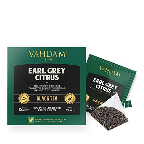 - Earl Grey Citrus, 15 Tea Bags (PACK OF 2), 100% NATURAL, Long Leaf Pyramid Earl Grey Tea Bags, Aromatic & Delicious, Black Tea blended with Natural Oil of Bergamot, Packed at Source, Iced Tea Bags