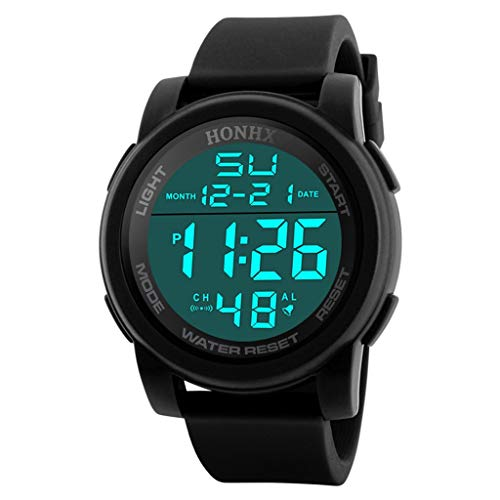 HONHX Mens Digital Watch Military Precise JP quartz Round Dial Waterproof Watches,with Silicone Strap Wristwatch(Black)