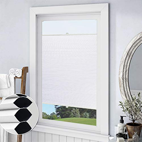 Keego Custom 100% Blackout Cellular Shades, Top Down Bottom up Window Blinds, White, 26″ W x 36″ H, Room Darkening Thermal Honeycomb Blinds for Bedroom Windows French Door Skylight