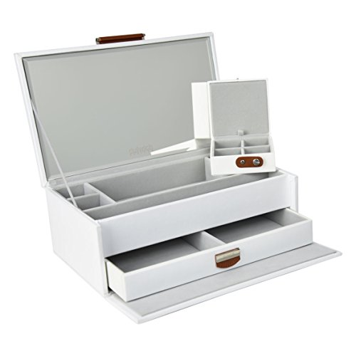 Bonded Leather Jewelry (OFFER 50% OFF | Dulwich Designs | Malmo White Premium Bonded Leather Jewelry Box)