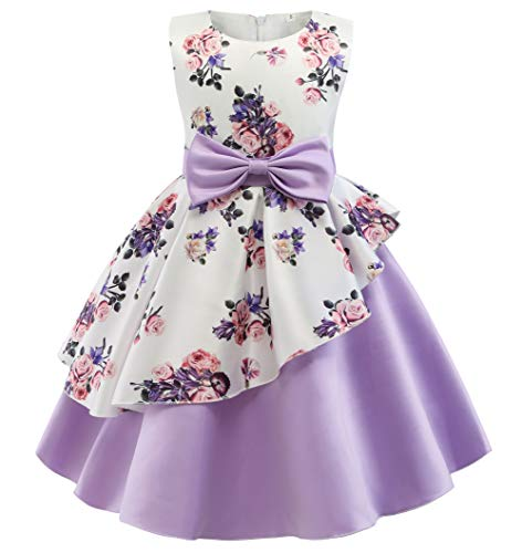NSSMWTTC Girls Dresses Wedding Sunday Party Dresses 2018 for Daughter Size 5T(Purple01,120)