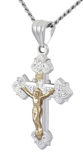 US Jewels And Gems 1.125in Solid 0.925 Sterling Silver & 14k Gold Crucifix Cross Pendant 2.3mm Rope Necklace, 20
