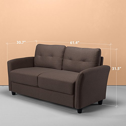 Zinus Contemporary Upholstered 62in Sofa Couch / Loveseat, Chestnut Brown