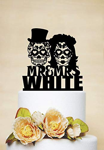 Sugar Skull Cake Topper,Skeleton Cake Topper,Mr And Mrs Wedding Cake Topper,Last Name Cake Topper,Custom Cake Topper,Halloween Wedding ()