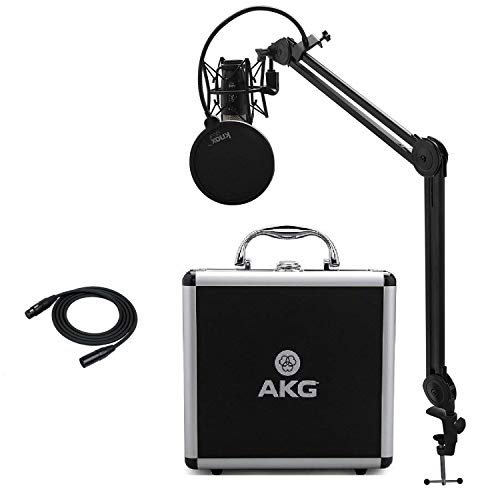 - AKG P420 Condenser Microphone with Knox Studio Stand, Pop Filter and XLR Cable Bundle