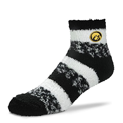 For Bare Feet NCAA RMC Pro Stripe Fuzzy Sleep Soft Sock -Iowa Hawkeyes-Size-Medium