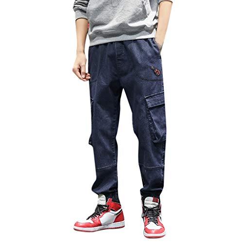 Men's Casual Cotton Elastic Waist Multiple Pockets Loose Jeans Pants Blue