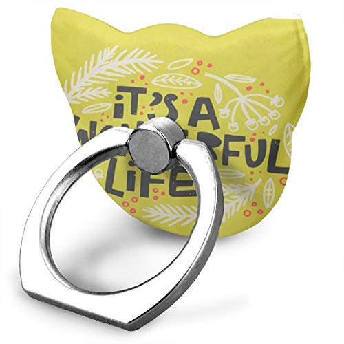 Cute Cat Shape Cell Phone Stand, 360 Rotation Smartphone Finger Ring Grip Stand, Christmas and New Year Phrase It Wonderful Life Modern Lettering Phone Holder