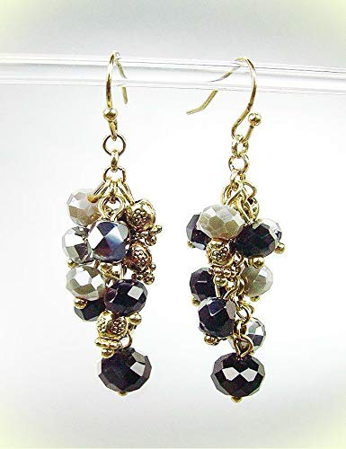 Artisanal Antique Gold Smoky Gray Black Onyx Crystals Earrings For Women Set ()