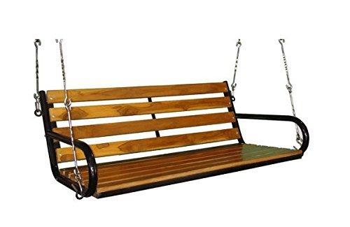 Hindoro Teak Wooden Hanging Hammock Swing Chair for Indoor and Outdoor Balcony (137cm)