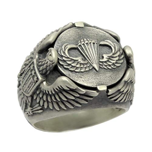 (Airborne Parachutist Jump Wing American Eagle Biker Sterling Silver Mens Ring U.S.)