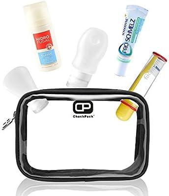 ChackPack Air - bolsa transparente com botellas de silicona, cepillo de dientes, pasta de dientes y desodorante Spray Max 100 ml/Kit de viaje/Neceser ...