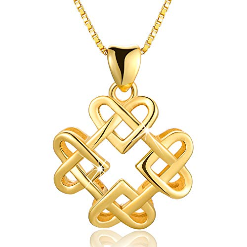 Esberry 18K Gold Plated 925 Sterling Silver Endless Love Vintage Celtic Knot Pendant Necklace Hollow Pendant with Necklaces for Girls and Women (Yellow Gold)