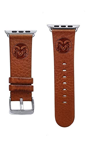 (Affinity Bands Colorado State University Rams Top Grain Oil Tanned Leather Band Compatible with Apple Watch - Available in Three Leather Colors - Band ONLY)