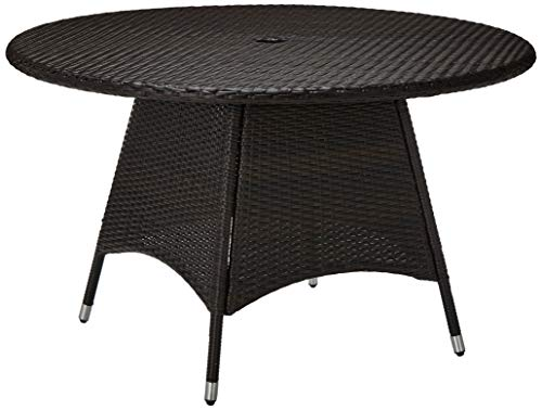Great Deal Furniture 296768 Kanza Outdoor Brown Wicker Round Dining Table