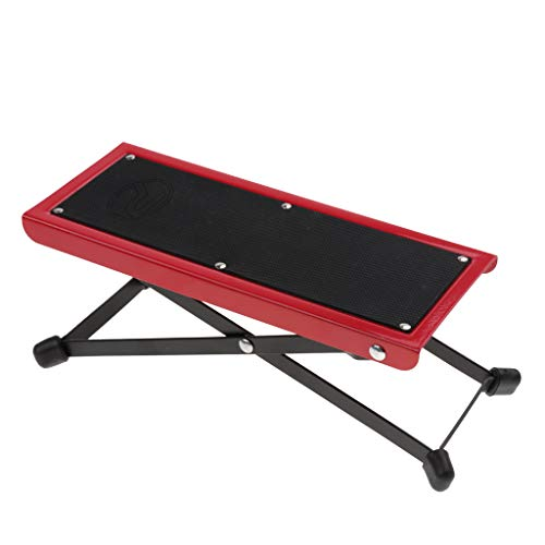 Baosity Foldable Metal Guitar Foot Rest Anti-slip Stand 4-Level for Guitar Player - Red by Baosity