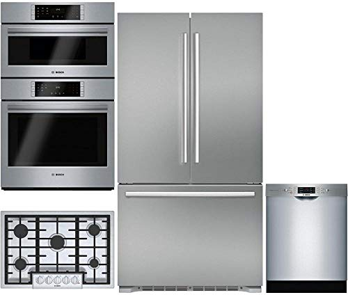 "Bosch 4-Piece Stainless Steel Kitchen Package B21CT80SNS 36"" French Door Refrigerator,HBL8752UC 30"" Double Wall Oven,NGM8056UC 30"" Gas Cooktop, SGE68U55UC 24"" Built In Full Console Dishwasher"