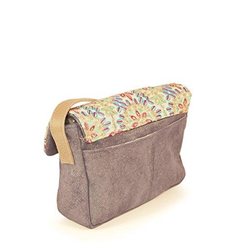et tissu 4 kashgar Oui cuir Violet sac C Mini brodé W4Iqaap