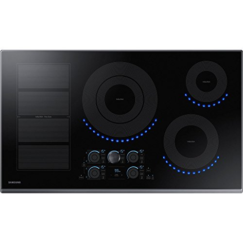 "Price comparison product image Samsung 36"" Black Stainless Steel 5 Element Induction Cooktop NZ36K7880UG"