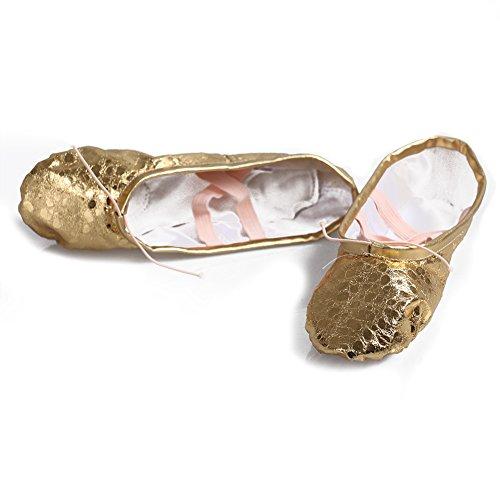 Roymall Dames & Meisjes Balletdansschoenen / Slipper / Yoga / Gymnastiek Plat Gespleten Zool Schoenen Goudpunt