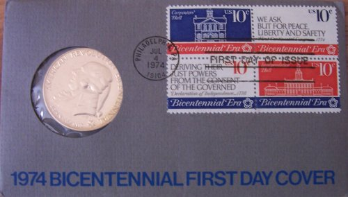 1974 American Revolution Bicentennial First Day Cover with John Adams medal