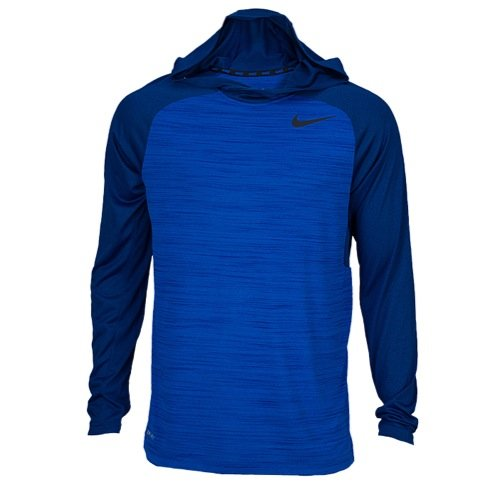 Nike Mens Dri Fit Touch Long Sleeve Hoodie Shirt (Extra Large) Blue/Black