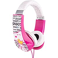 Peanuts HP2-03080 Kid Safe Over-The-Ear Headphone with Volume Limiter, Pink and White by Sakar