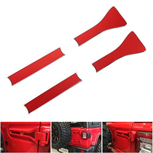 Artudatech 2 Sets Aluminum Rear Tailgate Hinge Cover Trim For Jeep Wrangler JL 2018+ RED