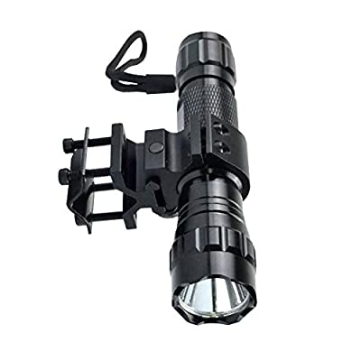 BOODMENT Tactical Flashlight 1200 Lumens LED Flashlight for A-R15 A-K Airsoft Rifle with 1'' QD Offset Mount, Barrel Mount Set,18650 Rechargeable Battery